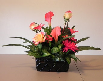 Hot Pink and Yellow Silk Flower Arrangement