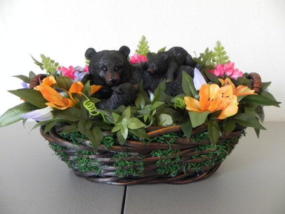 Mother Bear And Cubs Silk Flower Arrangement