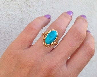 Genuine Turquoise Ring - December Ring - Oval Ring - Promise Ring - Gold Ring - Natural Gemstone - Birthstone Ring  - Lace ring