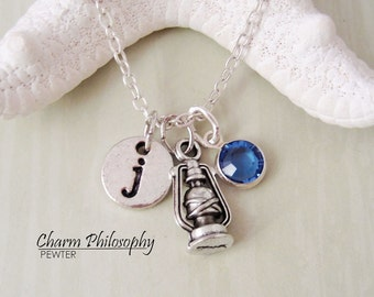 Lantern Necklace - Camping Gifts - Camping Jewelry - Outdoorsy Gifts - Monogram Personalized Initial and Birthstone