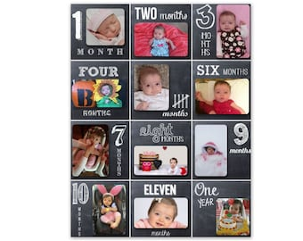 Personalized Baby's First Year - 12 Month - Chalkboard Style Photo Collage