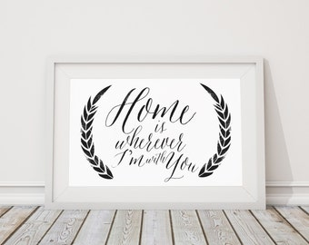 Home is Wherever I'm with You Typography Distressed Poster Print, Home Decor, Gift for Wife, Gift for Husband