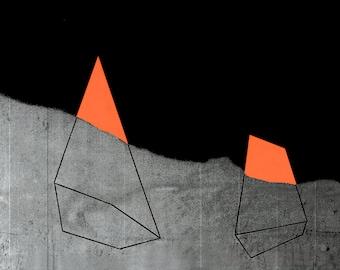 Geometric Art Print, Geometric, Minimal Art, Beneath: Orange