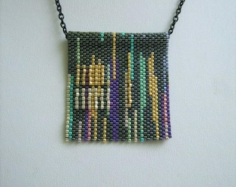 New Orleans, bead art, seed bead necklace, exclusive, cityscape necklace, seed bead art, wearable art, everyday jewelry, gift