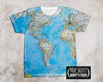 World Map T Shirt Globe Print- American Apparel Tee