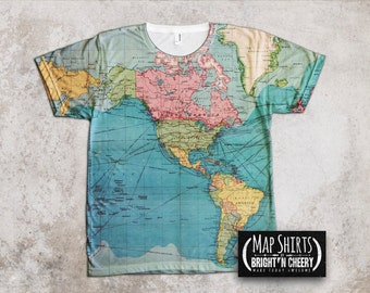 Vintage World Map T Shirt- Travel Gift, All Over Print Shirt, Atlas Tee, Explore the world
