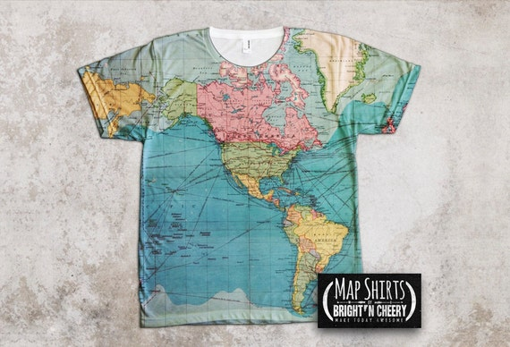 Vintage World Map T Shirt Travel Gift All Over Print Shirt