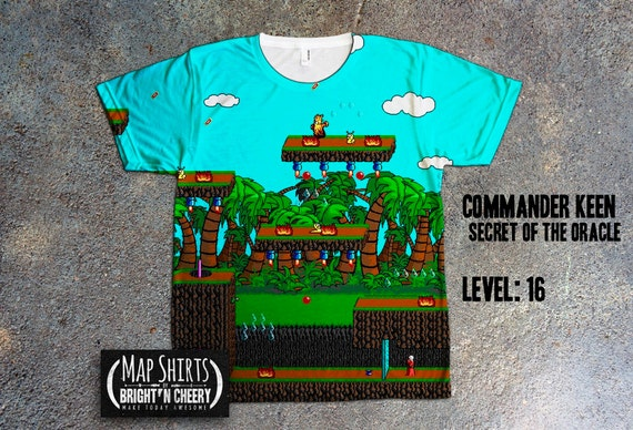 Commander Keen Goodbye Galaxy Secrets of the Oracle Retro Video Game Map All Over Print Shirt 1990s kids gamer shirt geek tees 90s nostalgia