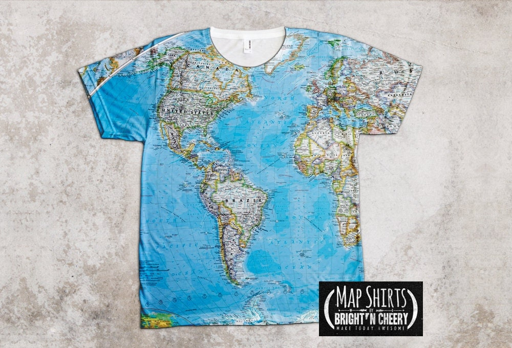 world map t shirt globe print american apparel tee. Black Bedroom Furniture Sets. Home Design Ideas