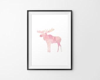 Moose Art, Moose Silhouette, Moose Minimal Art, Moose Print Art, Moose Wall Print, Moose Wall Decor, Moose Print