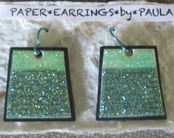 sparkly*trapezoidal*mint*paper*earrings*by*paula