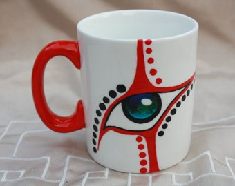 Cup eye red and blue hand painted