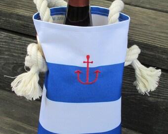 Nautical Reusable Wine Bag Anchor Hostess Gift Bottle Bag Housewarming Gift Wedding Gift