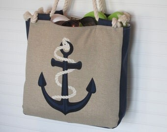 Nautical XL Anchor and Rope Beach Bag Ships Ahoy Tote Bag Boat Bag