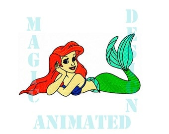 Little Mermaid Ariel Machine Embroidery Design in 2 sizes ---Instant download---
