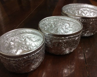 Vintage Aluminium Thai Bowl Water Dipper Gift Silver3 Pcs Collection Culture Water Wars Songkran Water Festival