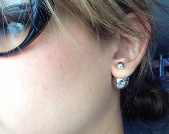 Double silver and pearl earrings