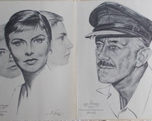 Birthday Gift, Old Hollywood Portraits, Best Actor & Best Actress Academy Sets for a 59th, 60th, 61st or 62nd birthday, Movie Memorabilia
