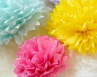 Set of 10 Pompoms, Tissue Pompoms, Back Drop decoration, Wall Decoration, Table centerpiece, hanging pompoms, wedding decor, party decor,