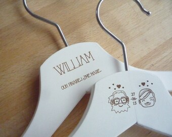 1 hanger wedding engraving front + back custom