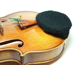Black Felted Wool Chinrest Cozy for Violin or Viola