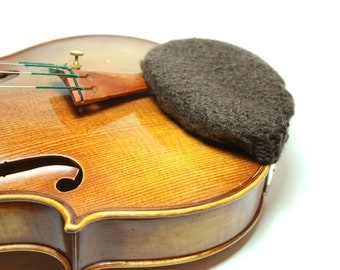 Brown Felted Wool Chin Rest Cozy for Violin or Viola