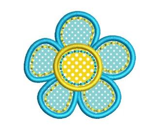 Blue Flower Applique Machine Embroidery Design 016