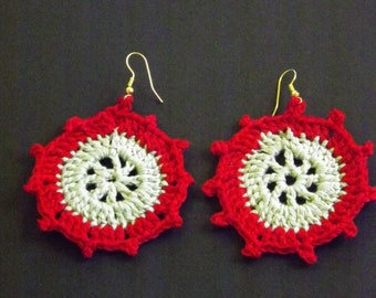 Mint Green and Red Crochet Earrings