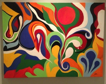 Colorful Large Abstract Modern Contemporary Acrylic Painting