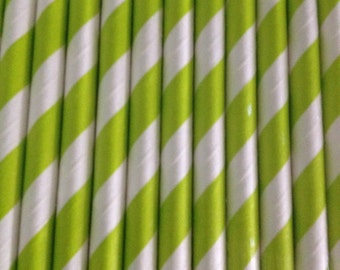 Lime Green Stripe Paper Straw (pack of 25)