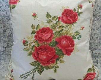 Vintage Silk Hand Painted Rose Pillow / Floral Pillow / Silk Pillow / Pillow with Flowers / Decorator Pillow / Vintage Pillow / Rose Pillow