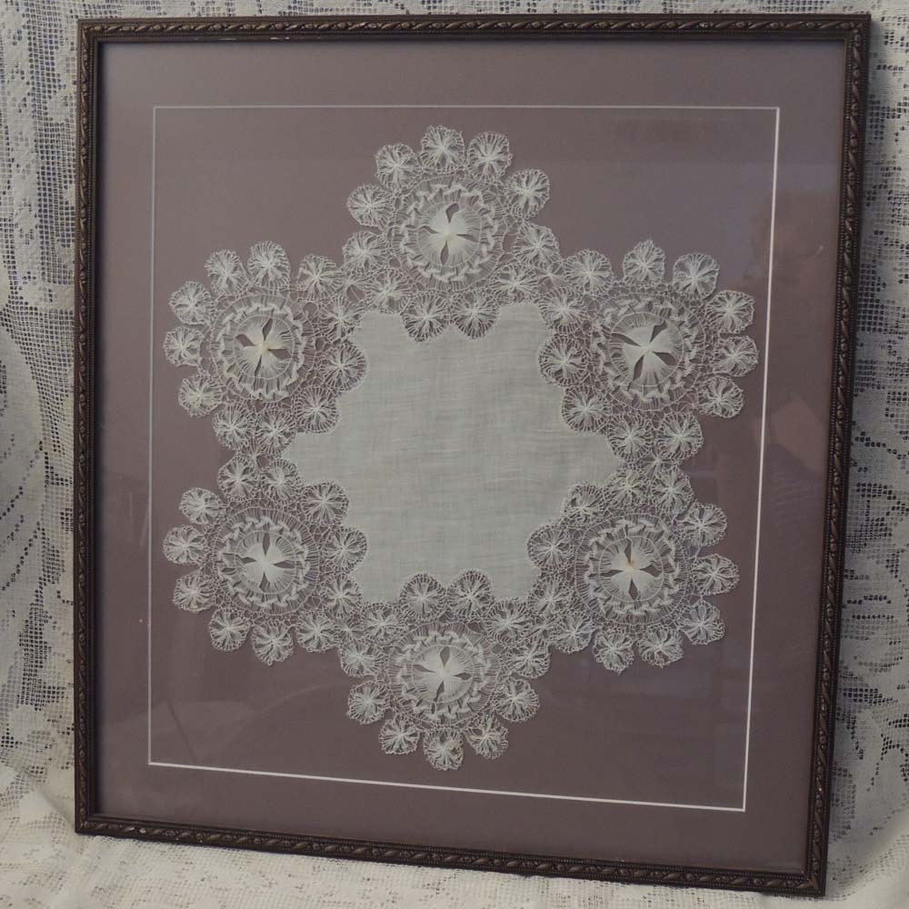 Framed Vintage Tenerife Lace Doily Spider Lace Doily