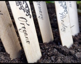 Wooden Herb Markers ~ Set of 6