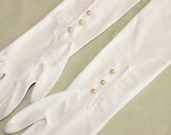 Vintage Ladies Full Length Off White Gloves with Pearl Buttons