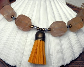 Sunshiny, long beaded tassel necklace with honey quarz and citrine, rustic and OOAK.
