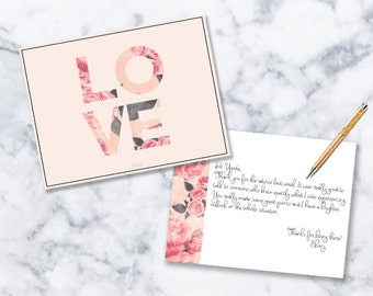 Note Card Stationery   Set of 12   Love   Floral   Pink