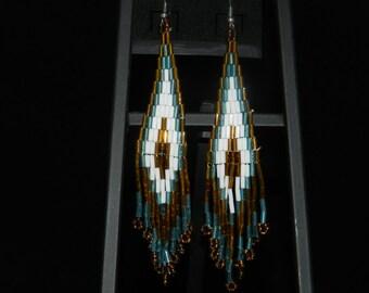 Buggle  Bead Feather Earrings