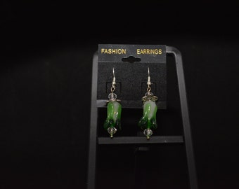 Green Lampwork Glass Flower Charm Earrings