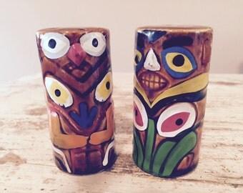 Tiki (totem?) salt and pepper shakers  made in Japan  Cute!