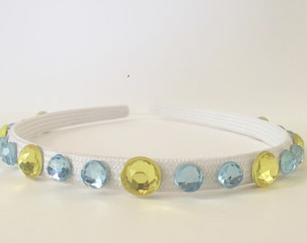 "Light Blue and Gold Hard Headband - ""UCLA Bruins"""