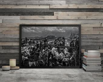 """Bastion"", poster art print framed"