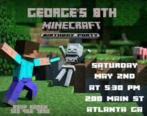 Minecraft Invite, Minecraft Birthday, Minecraft, Minecraft Thank You