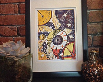 Spaced- Lino Print