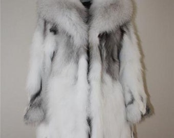 Luxury gift /Platinum Fox Fur Coat all sizes/ Wedding,or anniversary present