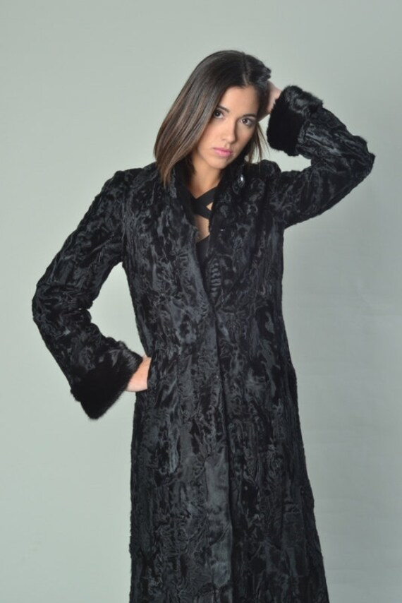 Coyote Fur Coat >> Luxury gift/Black Persian Lamb Coat with Mink Collar & Cuffs/
