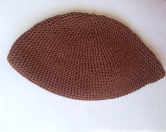 "Solid or Striped HANDMADE Medium or Large ""frik"" crochet kippah"