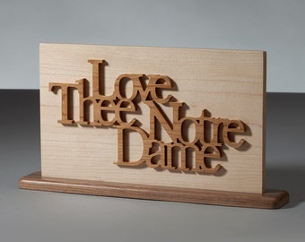 Love Thee Notre Dame Wood Plaque