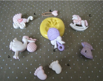 Baby Items Silicone Mold - Baby Shower Molds - Fondant Molds - Food Safe Molds - Clay Molds - Flexible Mold - Silicone Molds - Rattle Mold