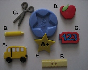 School Bus Silicone Mold -  Ruller S Mold - Scissors Mold -  Pencil  Mold - Silicone Molds - Clay Molds - Fondant Molds - Resin Molds
