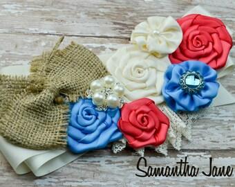 Coral, Turquoise and Burlap Satin Sash Perfect for Weddings or Maternity Sash